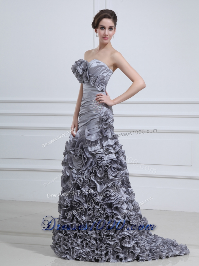 2014 unique sweetheart mermaid prom dress with handmade