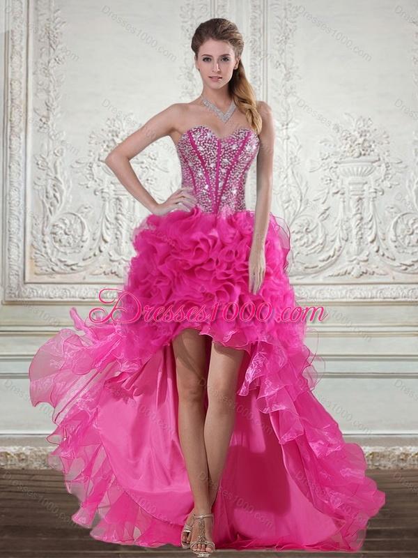 2015 elegant hot pink high low sweetheart prom dresses