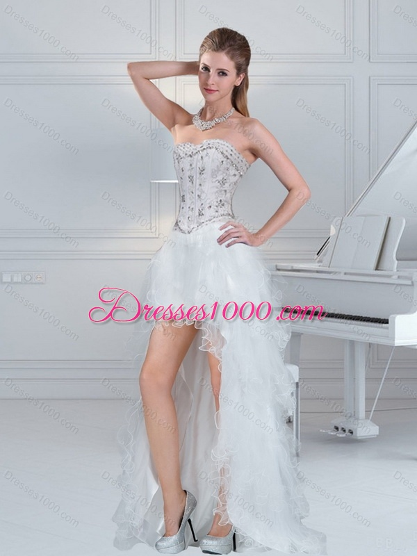 2017 Ball Gown Sweetheart White High Low Prom Dresses With Ruffles And Beading
