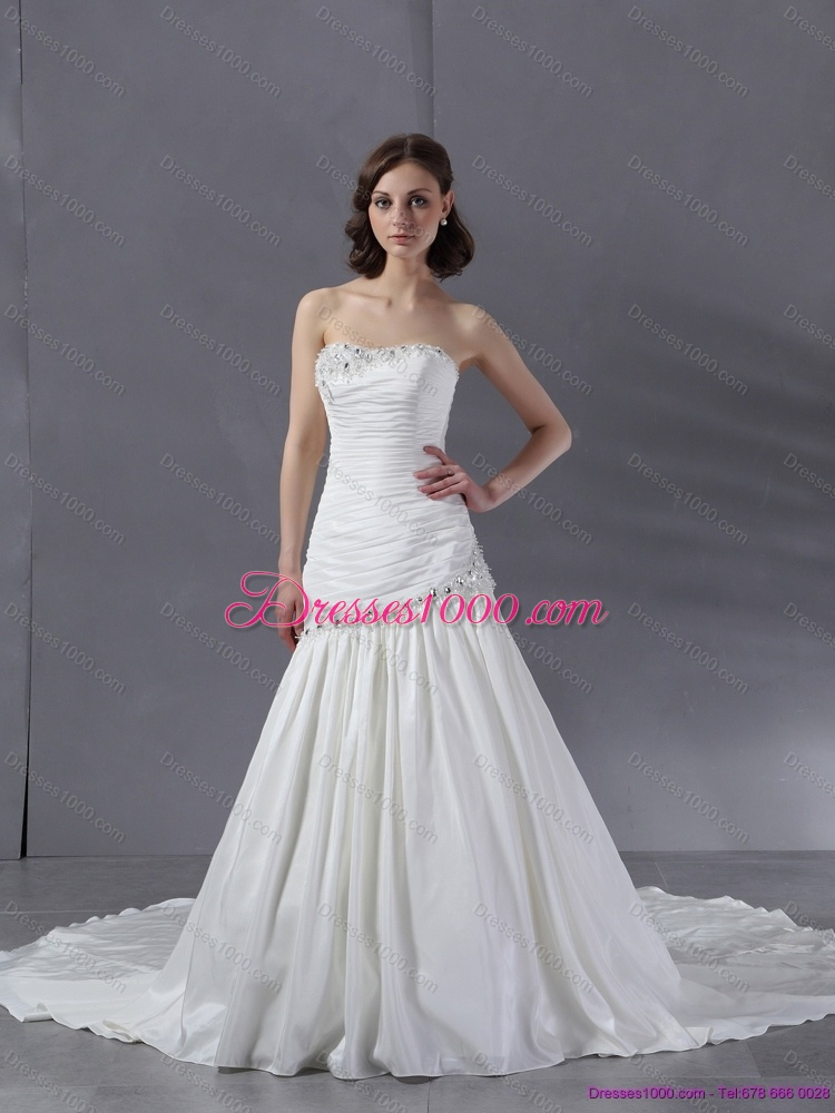 Cheap beaded strapless white wedding dresses with chapel for White wedding dresses cheap