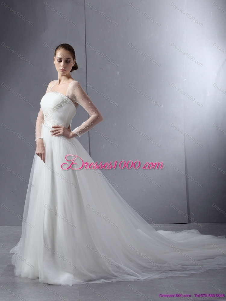 2015 new style strapless a line wedding dress with lace for A line wedding dress with ruching