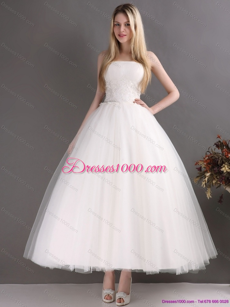 2015 new style sweetheart ankle length lace wedding dress for Lace ankle length wedding dress