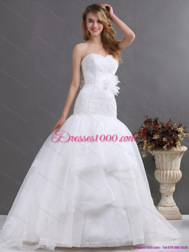 2015 New Style Sweetheart Wedding Dress With Brush Train