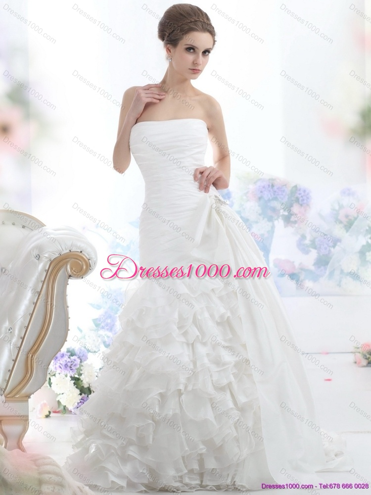 Cheap white strapless bridal gowns with ruffled layers and for Cheap strapless wedding dresses