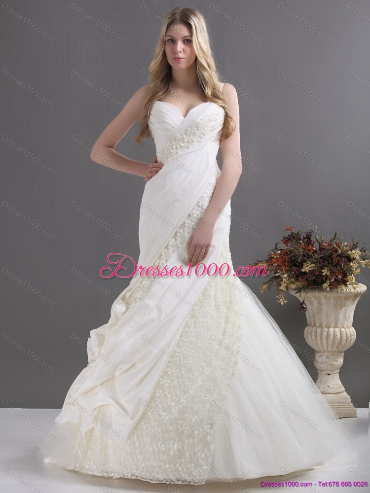 a line wedding dress with ruching and lace for 2015 us