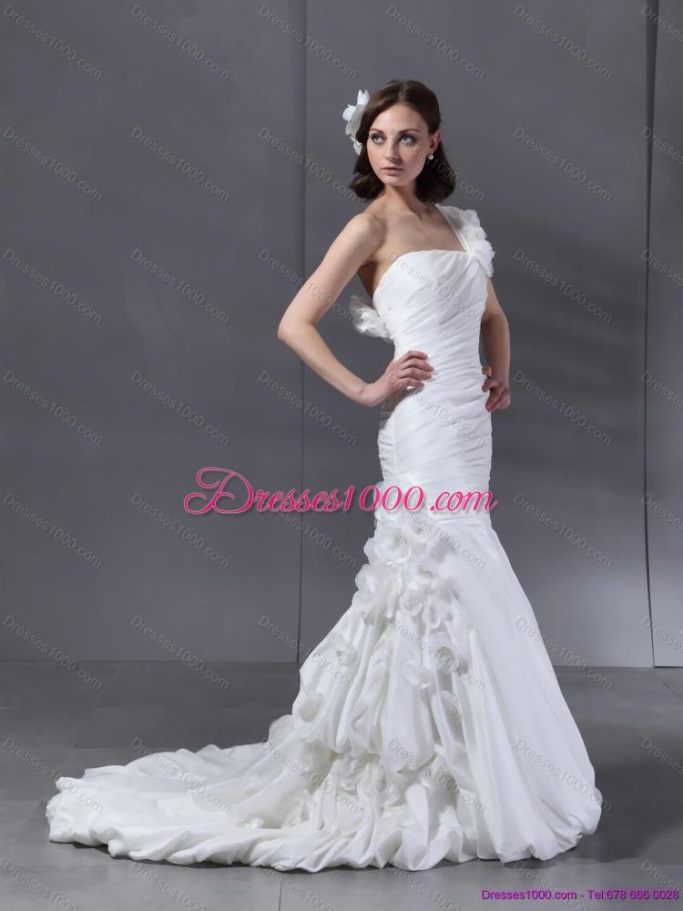 Satin one shoulder strap sweetheart neckline mermaid for One strap wedding dress