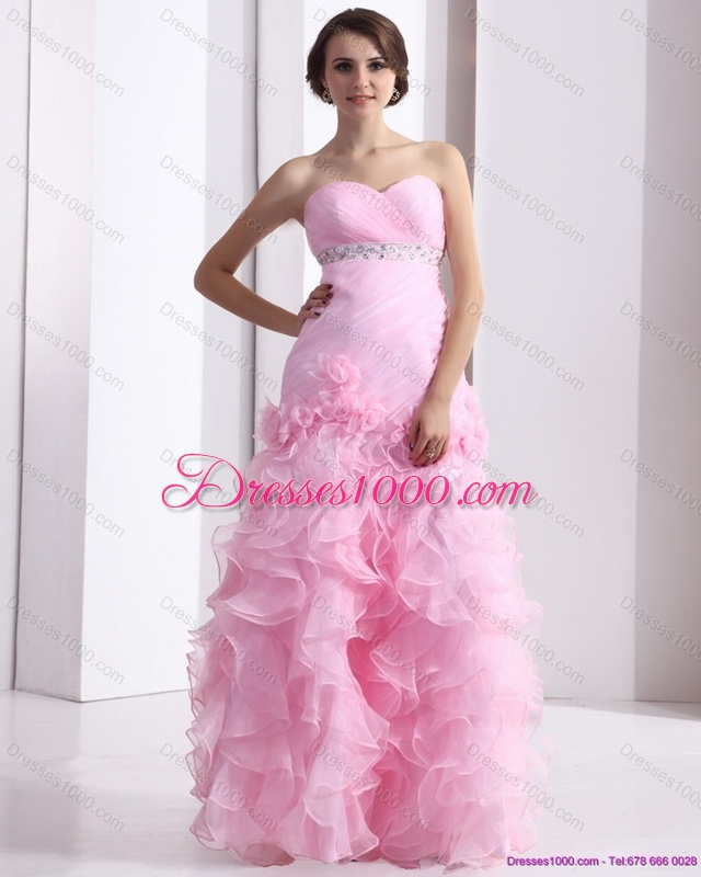 New style baby pink sweetheart ruching wedding dresses for Baby pink wedding dress