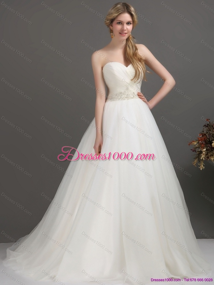 2015 Top Selling Sweetheart Wedding Dress With Beading And