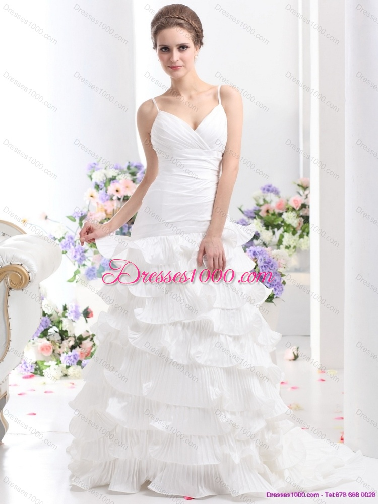 Top Selling Ruching White Wedding Dresses With Ruffled