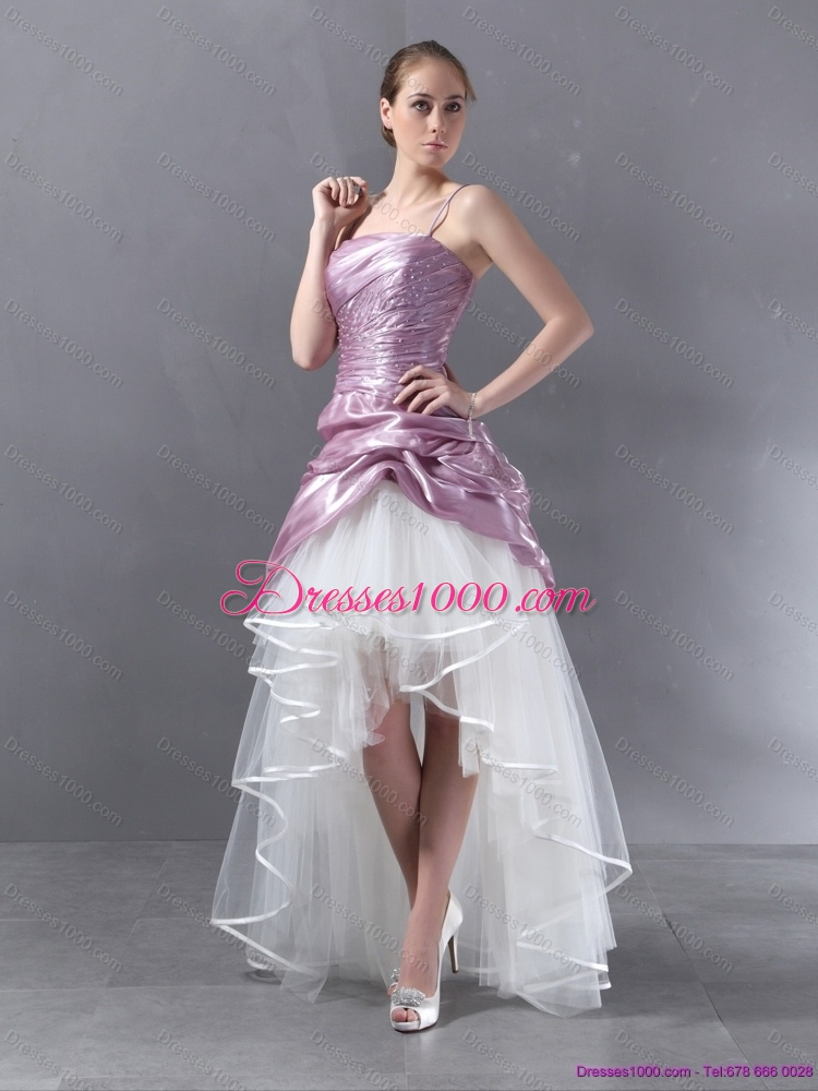 Ruching 2015 high low beaded wedding gowns in white and for White and lilac wedding dress