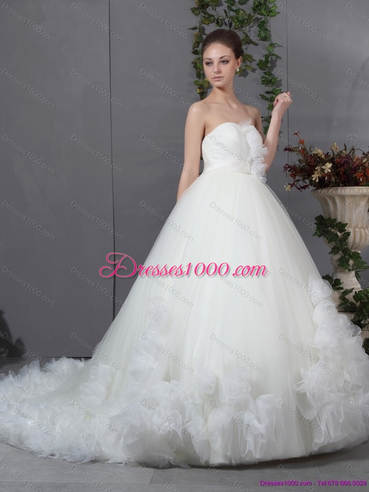 New A-Line Ruffled White Wedding Dresses with Chapel Train ...