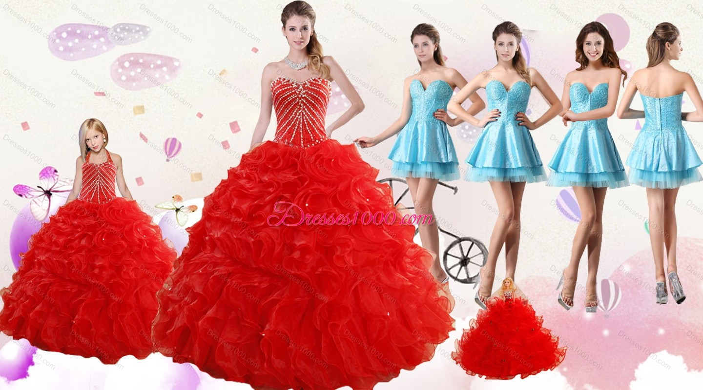 2015 ruffled red quinceanera gown and light blue