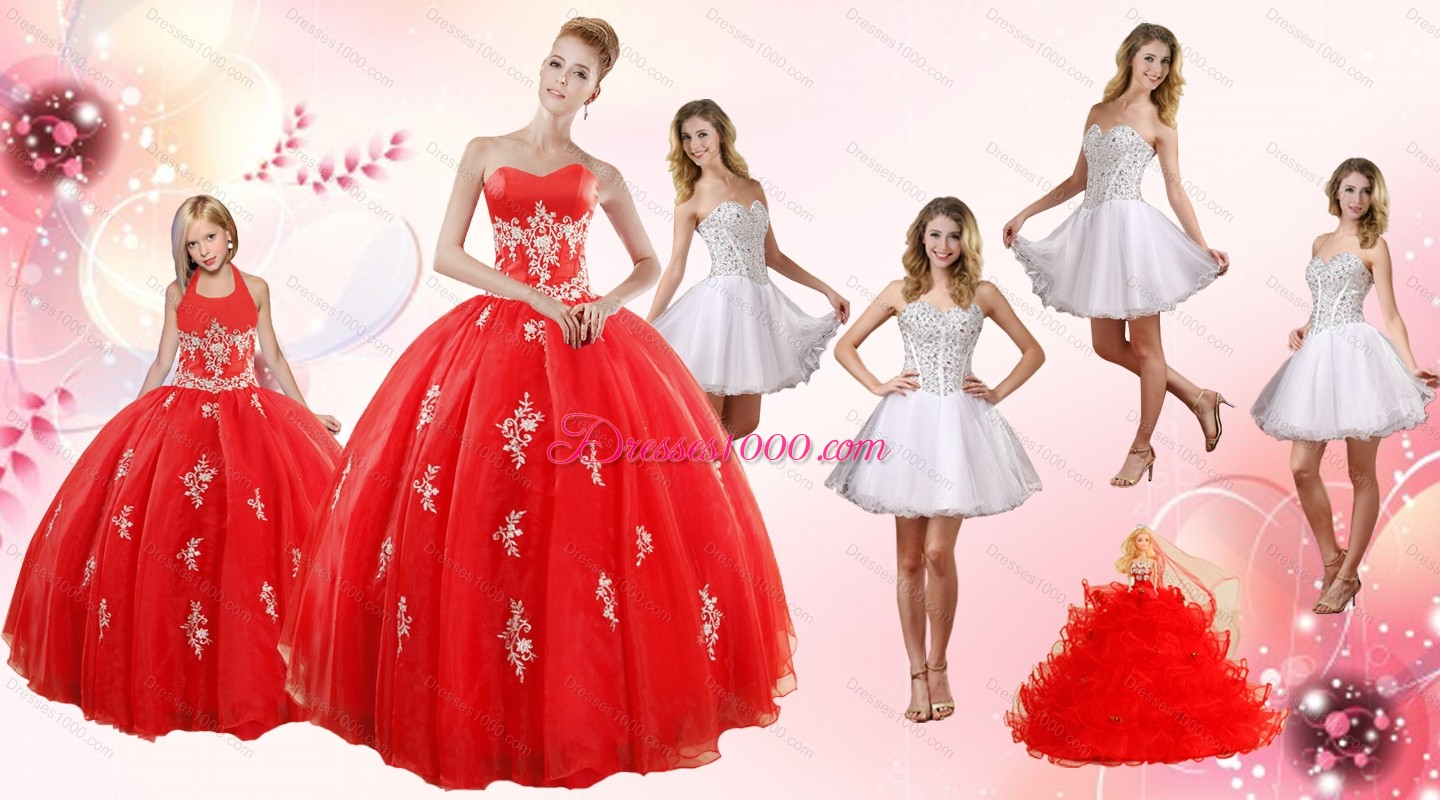 Red ball gown appliques quinceanera dress and short for Short red and white wedding dresses