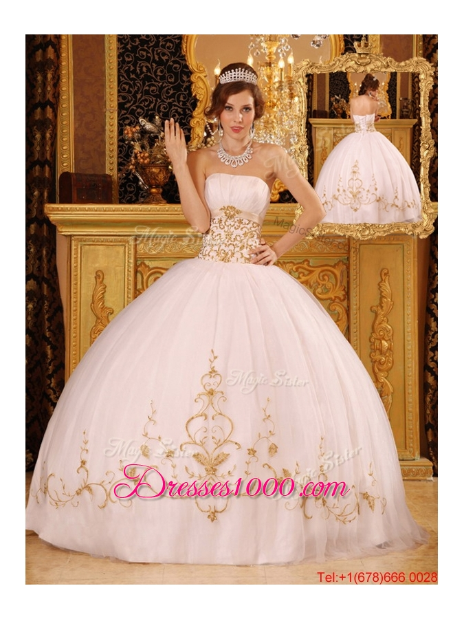 New Style White Ball Gown Strapless Floor Length Quinceanera Dresses ...