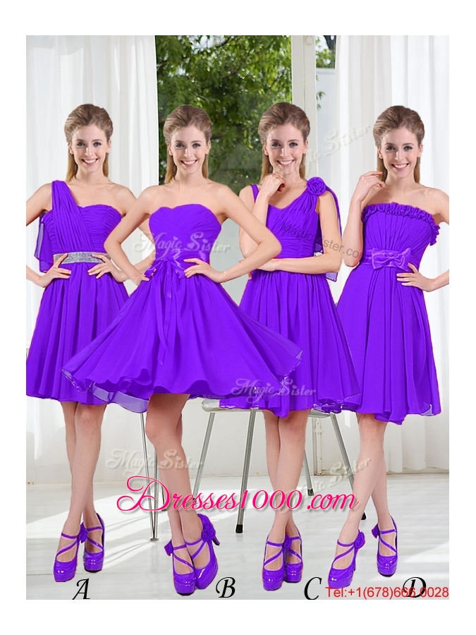 2016 Fall A Line Bowknot Bridesmaid Dresses in Purple - US$59.83