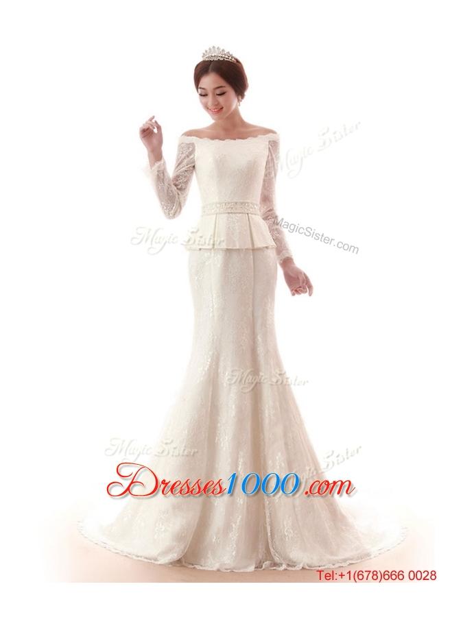 Pretty the super hot court train lace white wedding for Super cheap wedding dresses