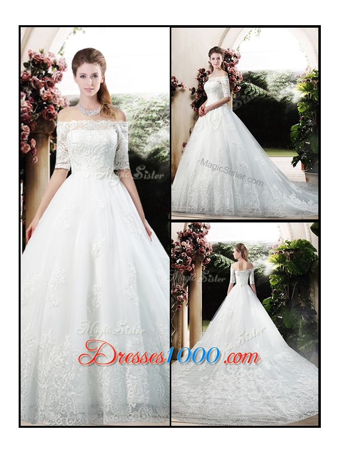 2016 latest a line off the shoulder half sleeves wedding for Wedding dresses off shoulder sleeves