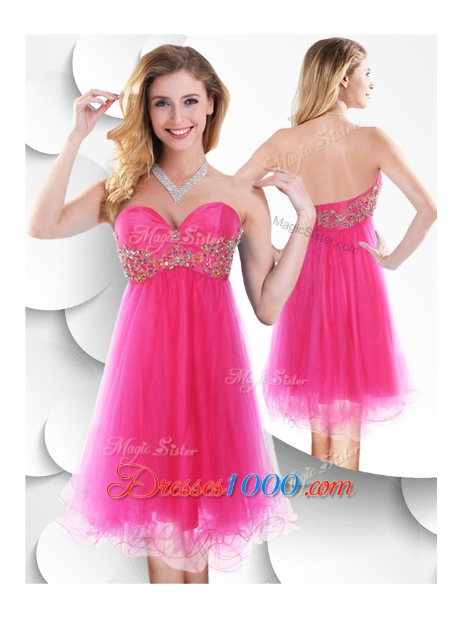 2016 Pretty Sweetheart Hot Pink Short Prom Dress with Beading - US ...
