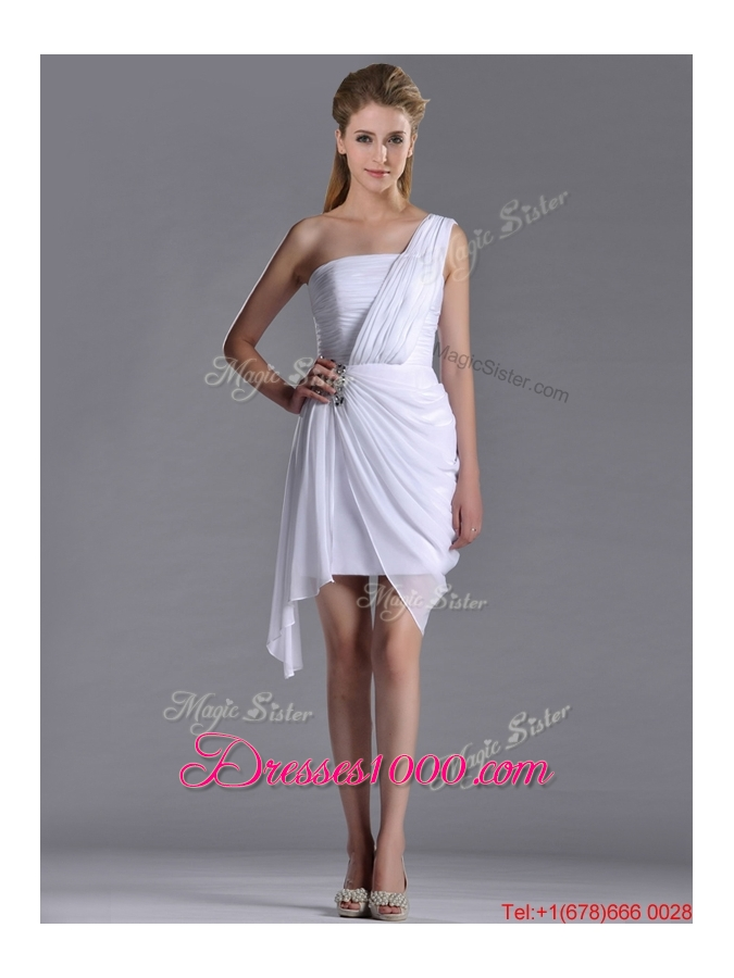 Cheap Column One Shoulder White Short Bridesmaid Dress