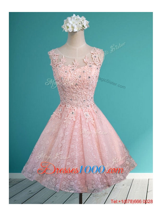 Best scoop beading and appliques short bridesmaid dress in for Baby pink wedding dress