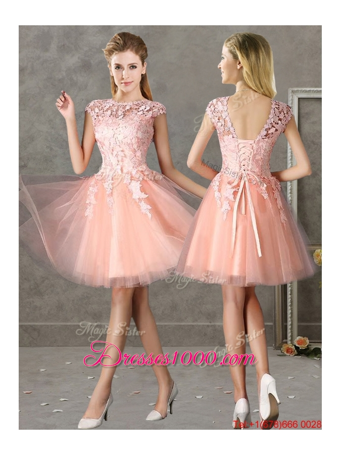 2016 New Style Bateau Peach Short Dama Dresses with Lace - US$48.96