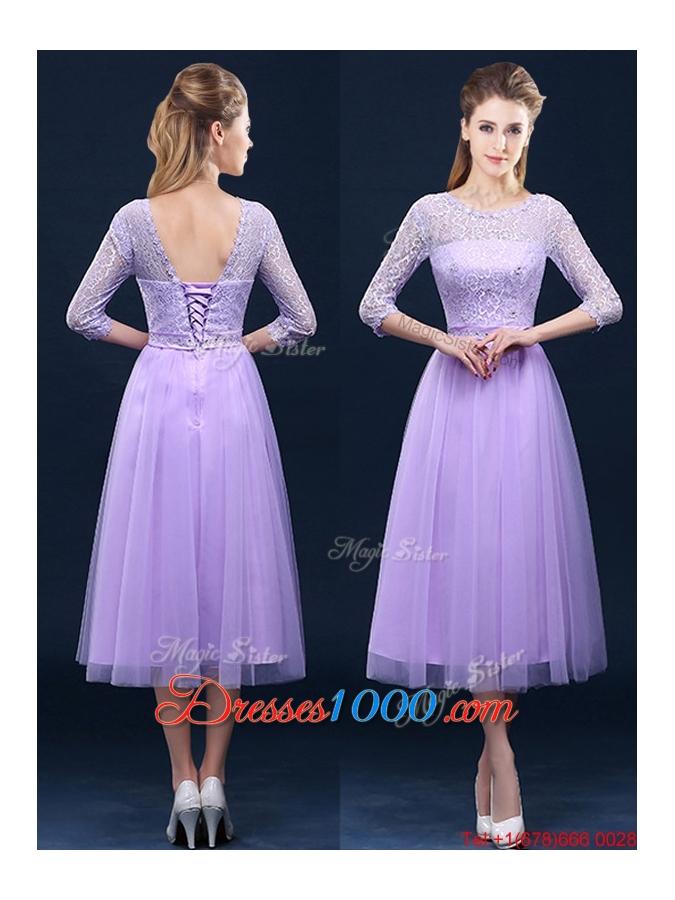 Popular Half Sleeves Tea Length Laced Bridesmaid Dress in Lavender ...