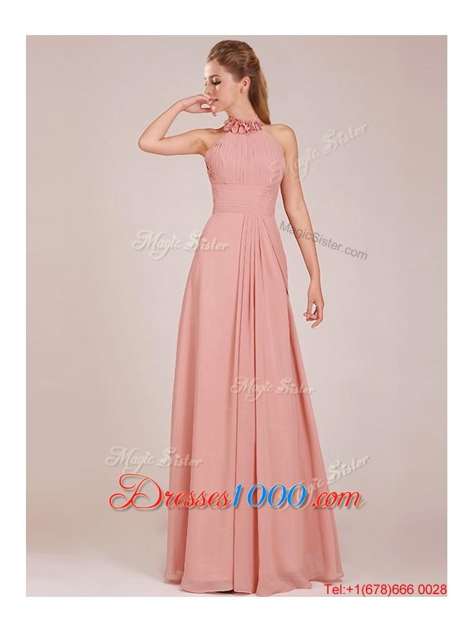 Popular Low Price Halter Top Peach Long Bridesmaid Dress in Chiffon ...