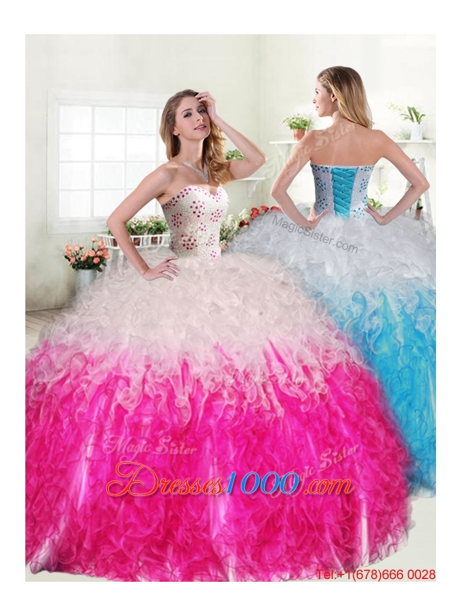 Exquisite Beaded and Ruffled Quinceanera Dress in Hot Pink ...