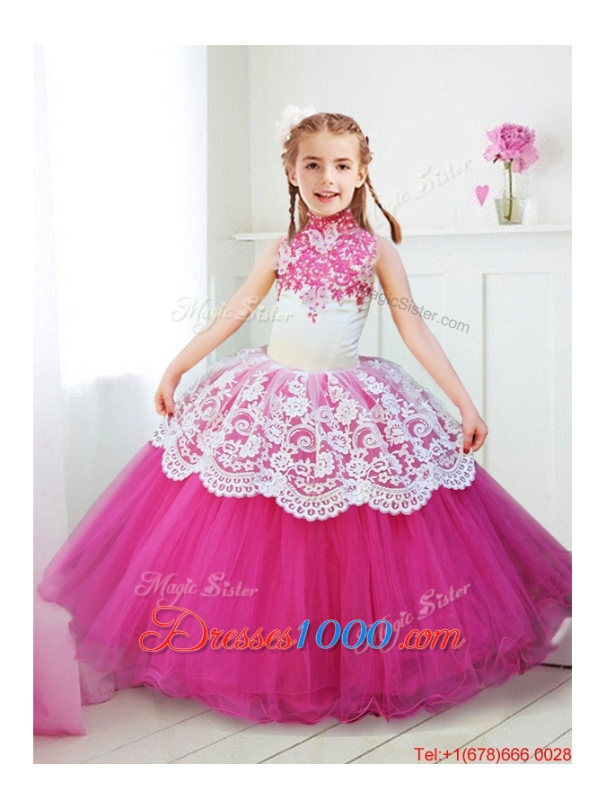 Inexpensive Halter Top Hot Pink Girls Party Dress with Beading and ...