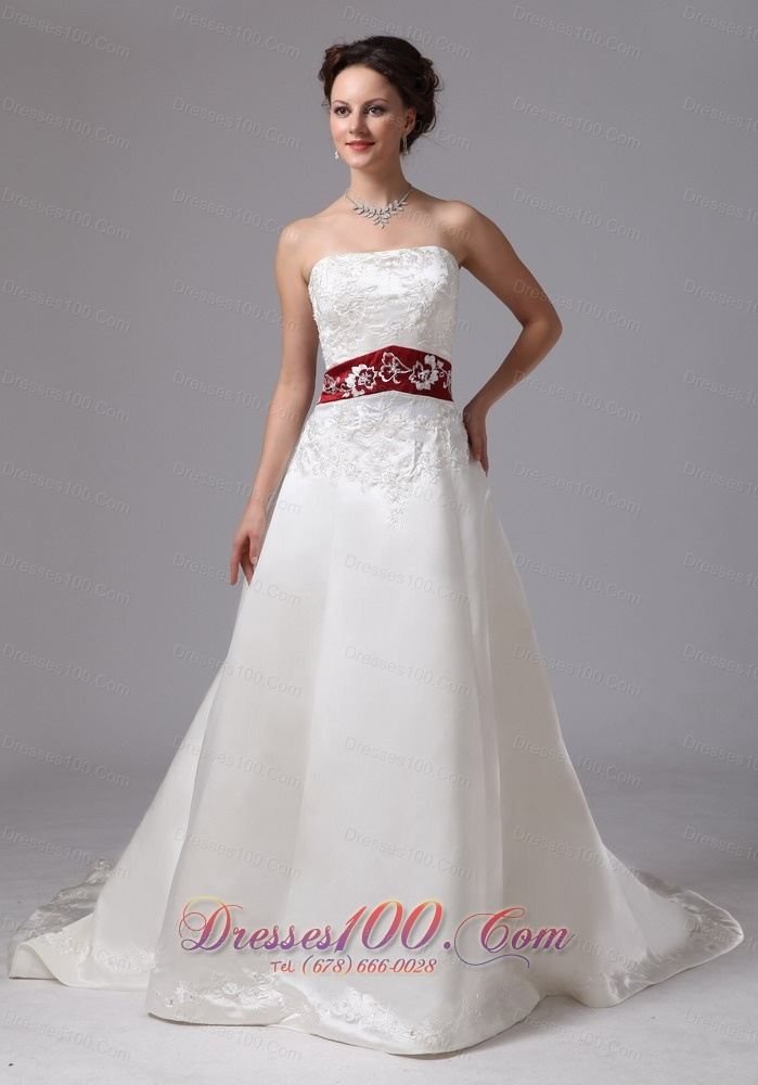 Extravagant Wine Red Church Wedding Dress Fall Train US
