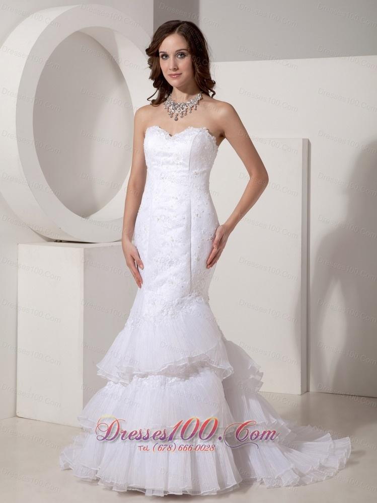 Wedding dress custom made trumpet sweetheart brush train for Best selling wedding dresses