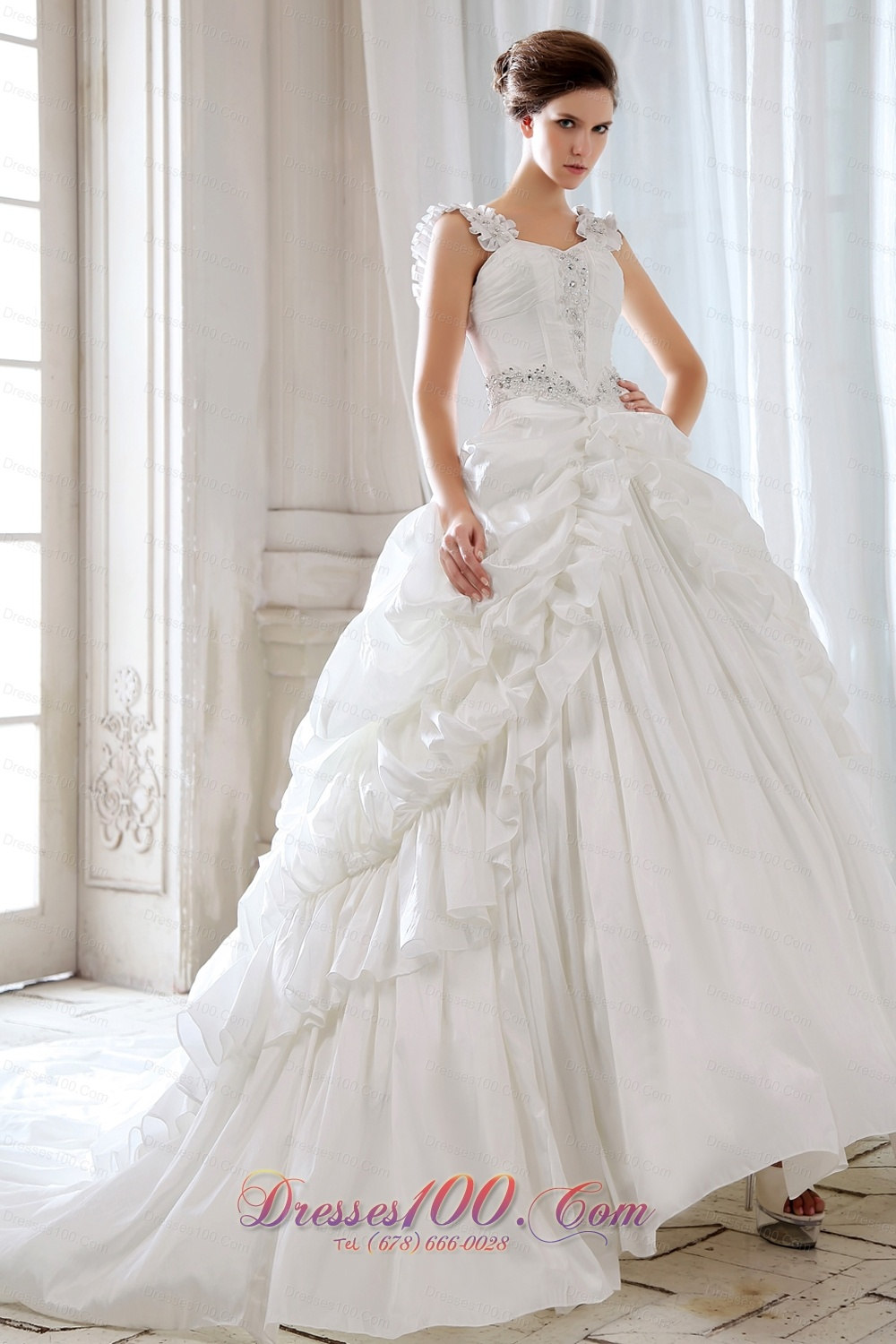 Classic ball gown wedding dress court train with straps for How to sell used wedding dress