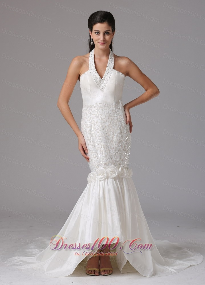 Romantic mermaid halter beaded wedding dress us for Mermaid halter wedding dresses