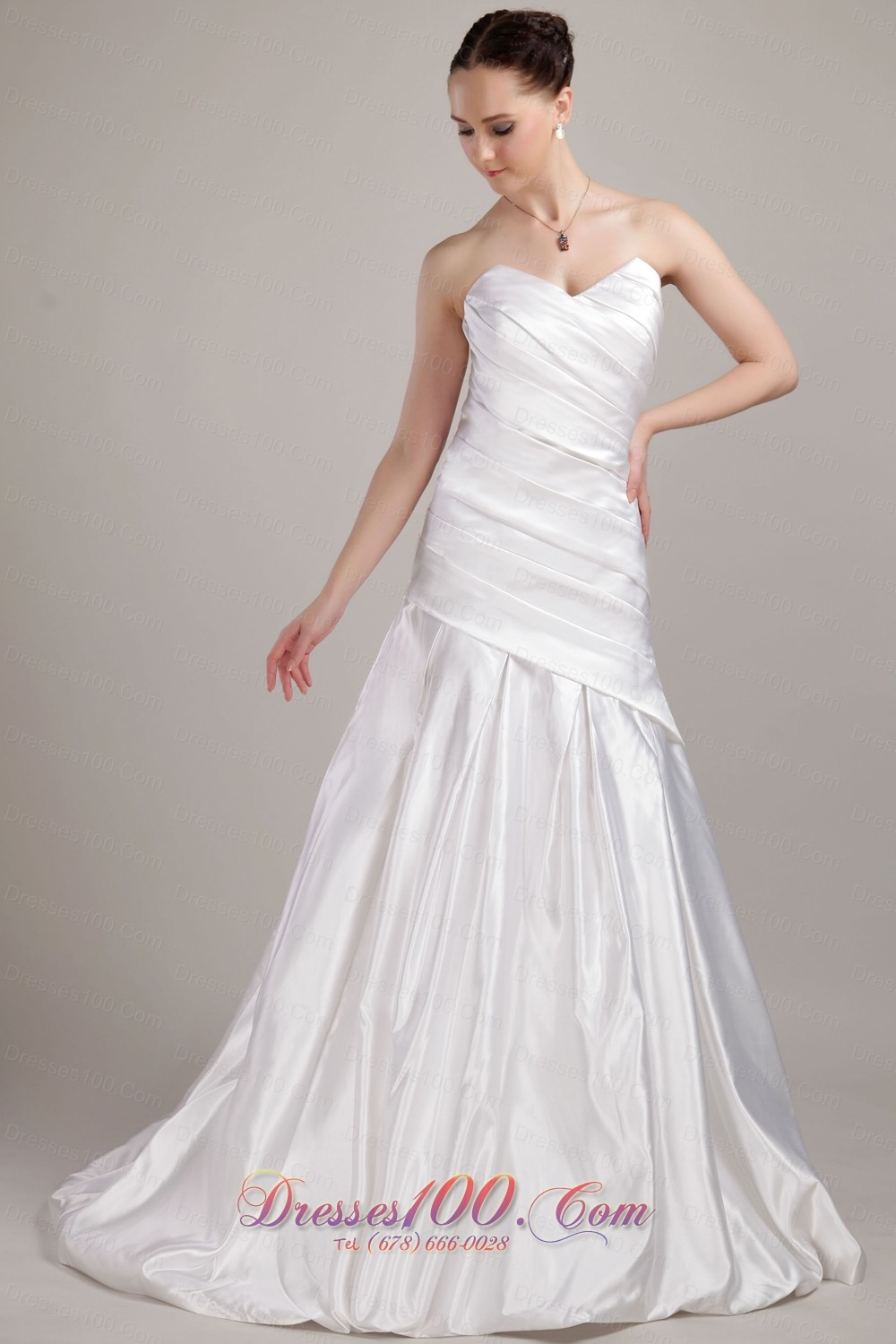 Low Cost Sweetheart A Line Wedding Gown Taffeta Brush Train US