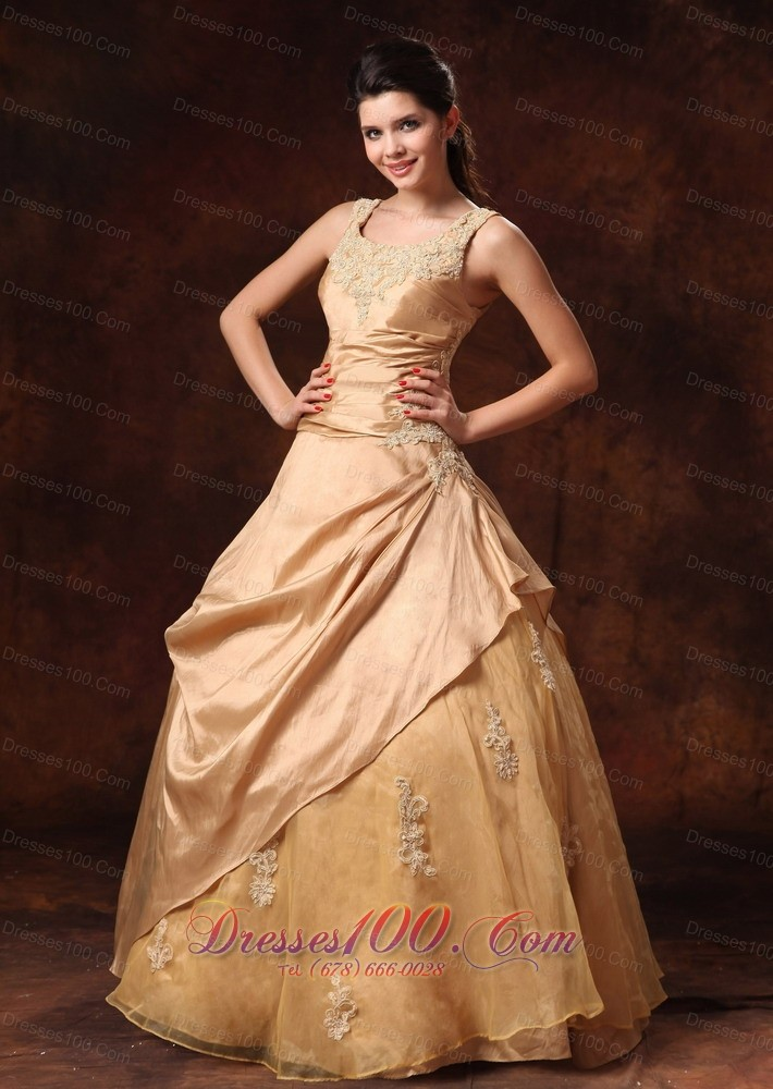 Champagne taffeta organza straps appliques bridal dress for Plus size champagne colored wedding dresses