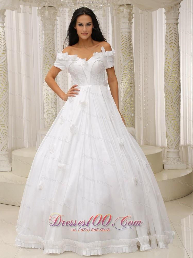 Ball gown off the shoulder wedding dress appliques taffeta for Off the shoulder taffeta wedding dress
