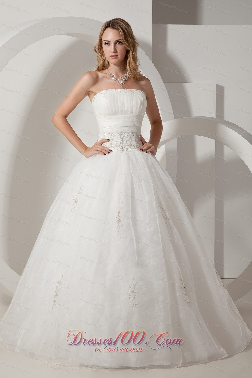Taffeta and organza wedding gown strapless embroidery for Us size wedding dresses