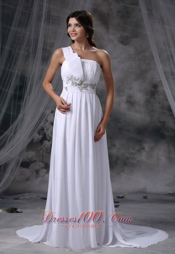 Beading one shoulder brush train chiffon wedding dress for Plus size wedding dresses okc