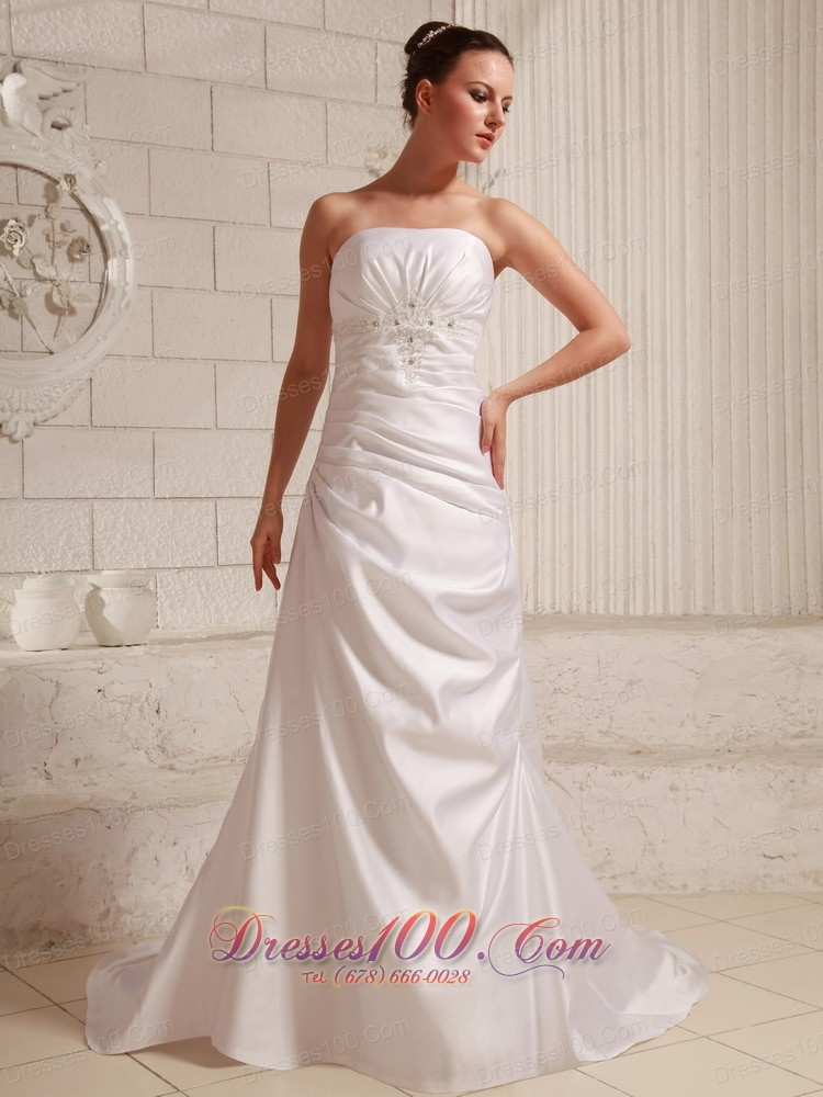 Low Cost Taffeta Appliques Outdoor Wedding Dress Court US