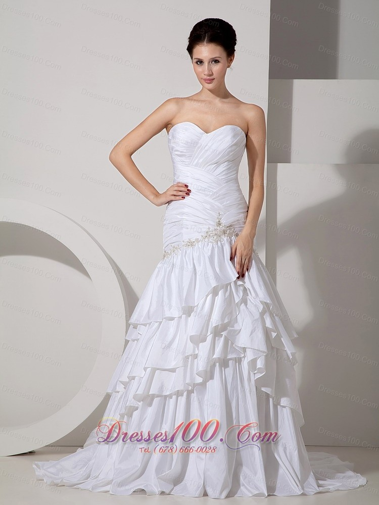 Beautiful bridal dress mermaid sweetheart appliques cheap for Cheap and beautiful wedding dresses