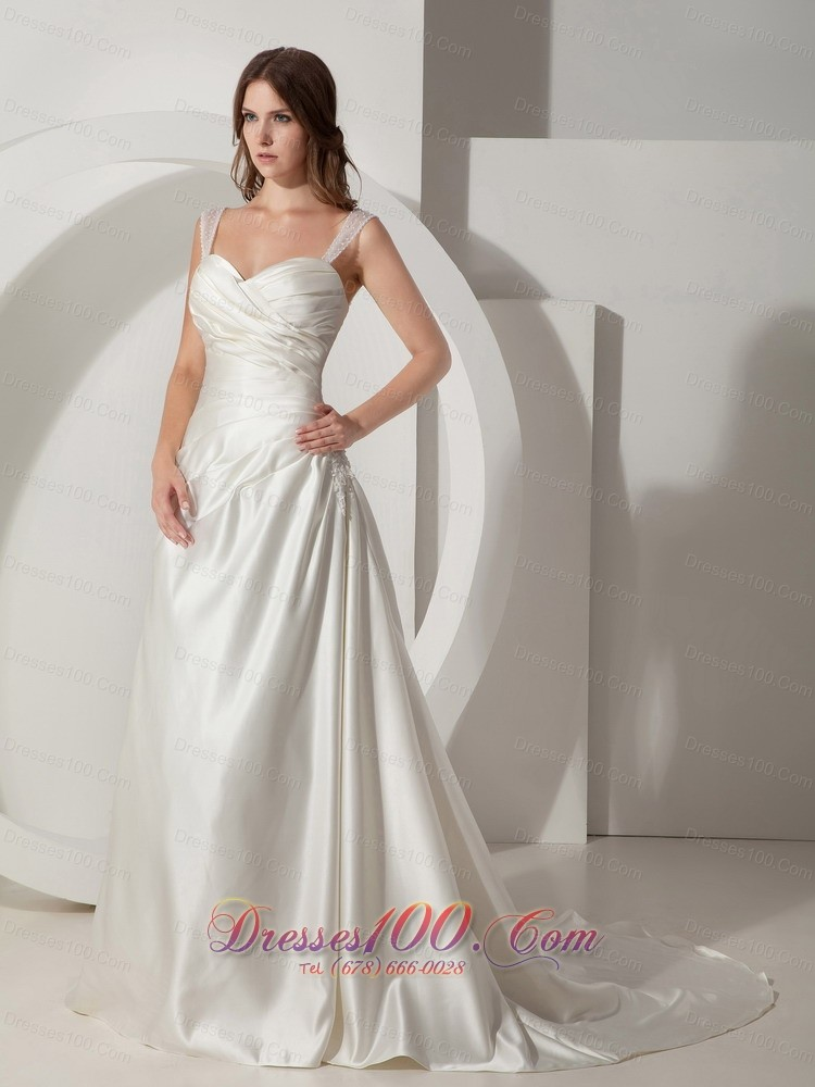 Simply princess wedding bridal dress straps taffeta on for Simply be wedding dresses