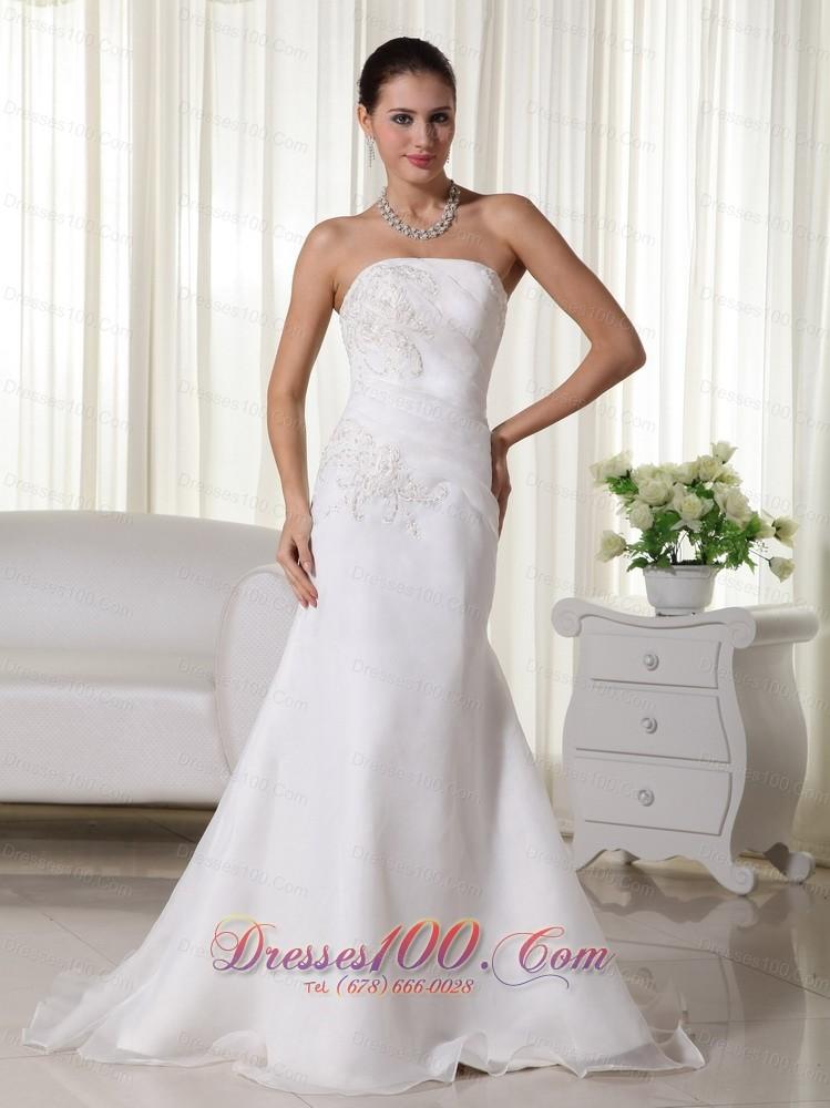 Mermaid Strapless Wedding Dress Brush Train Appliques