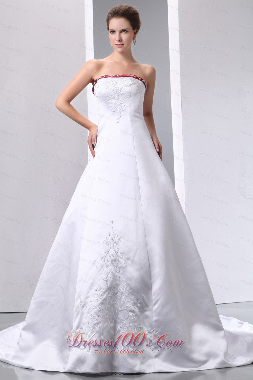 Colored white wedding dress a line embroidery gangnam for Color embroidered wedding dress