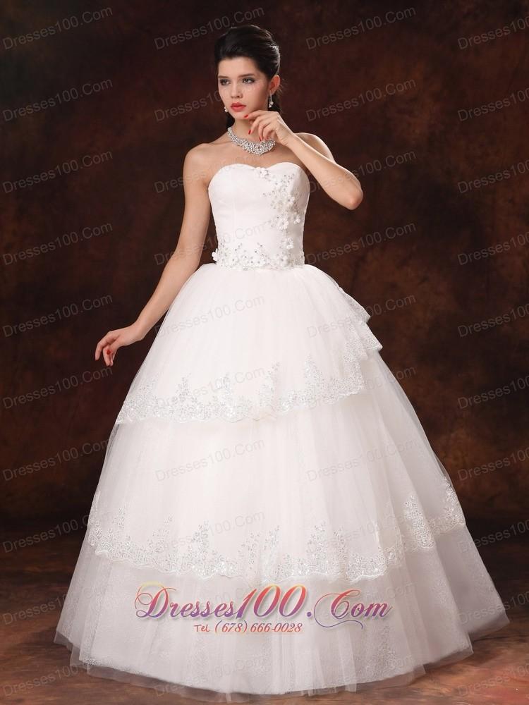 Designer ball gown church wedding dress appliques tulle for Designer ball gown wedding dresses