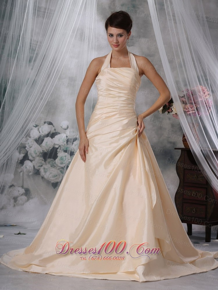 Halter Ruched Champagne Colored Wedding Dress Taffeta Us