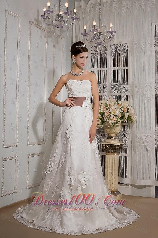 Appliques Lace Court Train Wedding Dress Colored