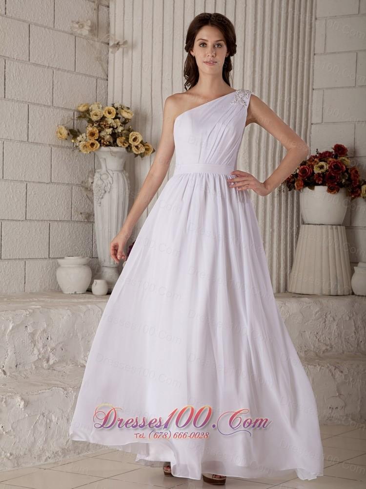 Appliques one shoulder chiffon beach wedding dress us for One shoulder beach wedding dress