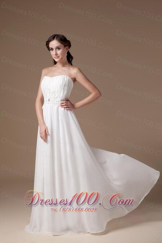 Empire Tulle Strapless Appliques Beach Wedding Dress