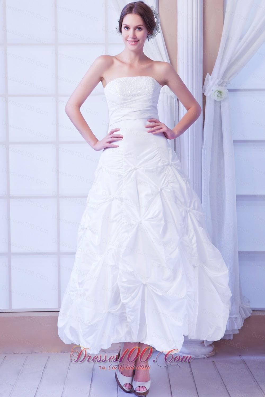 Strapless a line ankle length taffeta wedding dress us for Beach wedding dresses ankle length