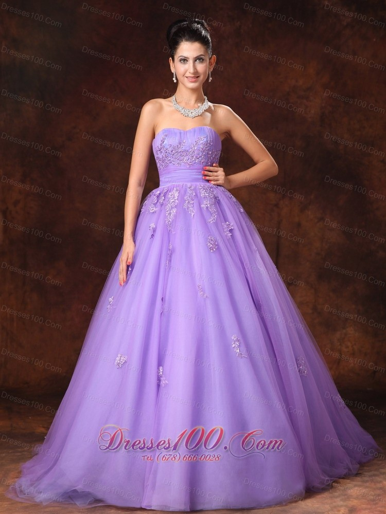 Lilac tulle appliques court train custom wedding dress for Lilac dress for wedding